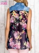 Granatowa koszula z kwiatowym motywem
