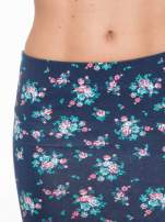 Granatowa mini spódnica tuba w kwiaty                                  zdj.                                  9
