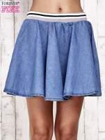 Granatowa rozkloszowana spódnica z gumką w pasie                                  zdj.                                  8