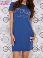 Granatowa sukienka dresowa z napisem BECAUSE                                                                          zdj.                                                                         1