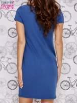 Granatowa sukienka dresowa z napisem BECAUSE                                                                          zdj.                                                                         4