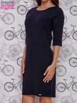 Granatowa sukienka dresowa z suwakiem z tyłu                                                                          zdj.                                                                         3