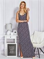 Granatowa sukienka maxi na ramiączkach w łączkę                                                                          zdj.                                                                         1