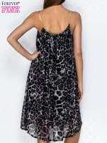 Granatowa sukienka w panterkę na złotych ramiączkach                                                                          zdj.                                                                         4