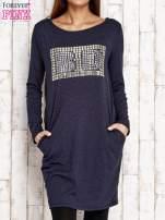 Granatowa sukienka z dżetami                                  zdj.                                  1