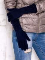 Granatowe długie rękawiczki z drapowanym rękawem                                  zdj.                                  3