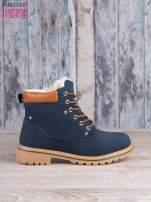 Granatowo-beżowe buty trekkingowe damskie traperki ocieplane