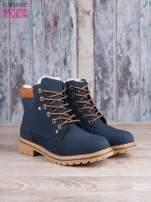 Granatowo-beżowe buty trekkingowe damskie traperki ocieplane                                                                          zdj.                                                                         2