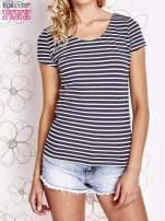 Granatowo-biały t-shirt w paski crossed back                                                                          zdj.                                                                         1