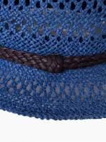Granatowy damski kapelusz kowbojski z ciemną plecionką                                  zdj.                                  9