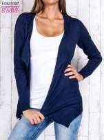 Granatowy niezapinany sweter z melanżowym efektem                                                                          zdj.                                                                         1