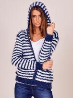 Granatowy rozpinany sweter w paski z kapturem                                  zdj.                                  5