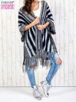 Granatowy sweter poncho z frędzlami                                                                           zdj.                                                                         7