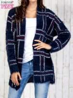 Granatowy sweter w kratę z kieszeniami                                                                          zdj.                                                                         1