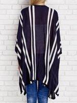 Granatowy sweter w paski o kroju poncha                                  zdj.                                  2