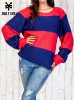 Granatowy sweter w pasy