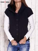 Granatowy sweter z futrzanym kapturem FUNK N SOUL