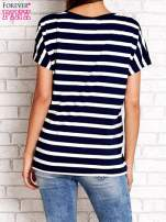 Granatowy t-shirt w białe paski z napisem NORTH CHAPEL STREET                                                                          zdj.                                                                         4