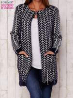 Granatowy wełniany sweter z kieszeniami                                  zdj.                                  1