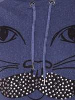 """HipsterCat' Niebieska bluza z nadrukiem kota                                                                          zdj.                                                                         9"