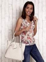 Jasnobeżowa dziurkowana torba shopper z portfelem                                  zdj.                                  2