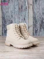 Jasnobeżowe jednolite buty trekkingowe damskie traperki ocieplane                                                                          zdj.                                                                         3