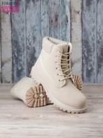 Jasnobeżowe jednolite buty trekkingowe damskie traperki ocieplane                                                                          zdj.                                                                         4