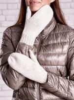 Jasnobeżowe rękawiczki na jeden palec z błyszczącą nicią                                                                          zdj.                                                                         2