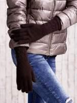 Jasnobrązowe długie rękawiczki z drapowanym rękawem                                  zdj.                                  3