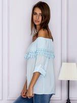 Jasnoniebieska bluzka hiszpanka z koronkową lamówką                                  zdj.                                  5