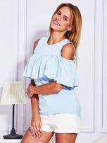 Jasnoniebieska bluzka z falbaną                                  zdj.                                  5