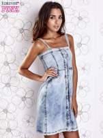 Jasnoniebieska dekatyzowana sukienka jeansowa z kieszeniami                                  zdj.                                  5