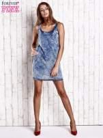 Jasnoniebieska jeansowa sukienka z motywem panterki                                                                          zdj.                                                                         2