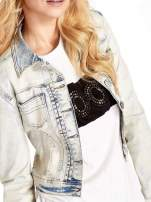 Jasnoniebieska kurtka jeansowa damska marmurkowa Jasnoniebieska kurtka jeansowa damska marmurkowa z kieszeniami                                  zdj.                                  5