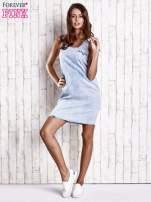 Jasnoniebieska sukienka jeansowa o kroju litery A                                  zdj.                                  2