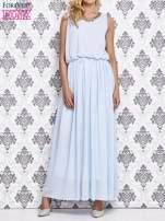 Jasnoniebieska sukienka maxi z łańcuchem przy dekolcie                                  zdj.                                  1