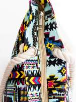 Jasnoniebieska torba plażowa w azteckie wzory