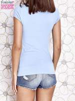 Jasnoniebieski t-shirt z napisem STOP DREAMING START DOING                                  zdj.                                  4