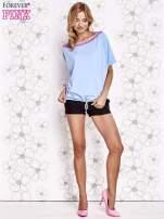 Jasnoniebieski t-shirt z różowymi pomponikami przy dekolcie                                  zdj.                                  2