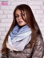 Jasnoniebieski wełniany szalik w szeroką kratę                                  zdj.                                  2