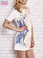 Jasnoróżowa malowana sukienka mini