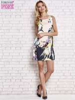 Jasnoróżowa sukienka z malowanym nadrukiem                                  zdj.                                  5