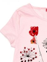 Jasnoróżowa tunika dla dziewczynki z motywem łąki                                  zdj.                                  3