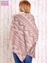 Jasnoróżowy szalik w azteckie wzory                                  zdj.                                  6