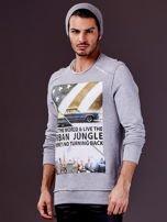 Jasnoszara bluza męska z nadrukiem i surowym wykończeniem                                  zdj.                                  1