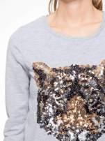 Jasnoszara bluza z aplikacją tygrysa z cekinów                                  zdj.                                  7