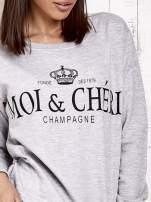 Jasnoszara bluza z napisem MOI & CHÉRI                                  zdj.                                  5