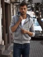 Jasnoszara gruba bluza męska z kapturem i kieszeniami