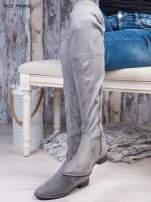 Jasnoszare zamszowe kozaki faux suede za kolana wiązane na sznurek nad kolanem                                  zdj.                                  3