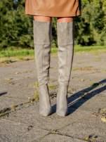 Jasnoszare zamszowe kozaki na szpilkach za kolano                                                                          zdj.                                                                         1